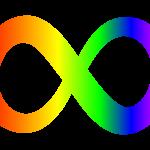 il simbolo dell'infinito con i colori dell'arcobaleno a simboleggiare la neurodivergenza