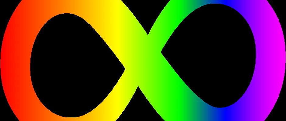 il simbolo dell'infinito con i colori dell'arcobaleno, che simboleggia la neurodivergenza