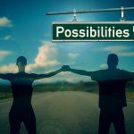 silhouette di un uomo e una donna che si tengono per mano. Sullo sfondo una strada e un paesaggio alberato, e un cartello con scritto: Possibilities