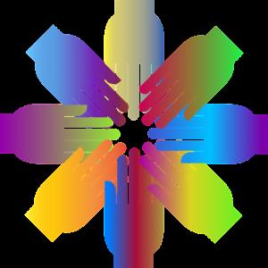 un disegno in cui otto mani coi colori dello spettro luminoso si uniscono