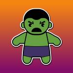 Un disegno che rappresenta un bambino verde come l'incredibile Hulk