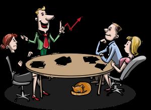 """Vignetta che ritrae un meeting aziendale con un cartello con su scritto """"team work"""""""