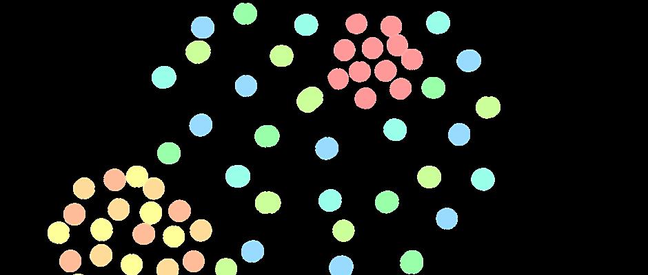 inclusione ed esclusione mostrata attraverso insiemi di puntini coloratimostrata secondo