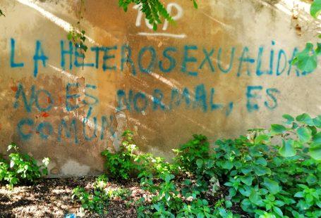 Una scritta sul muro in spagnolo che dice: l'eterosessualità non è normale, è comune