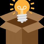 il disegno di una lampadina accesa che salta fuori da una scatola di cartone aperta