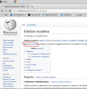 """lo screenshot della pagina di Wikipedia in cui compaio come """"affetto· da autismo"""