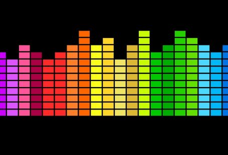 un equalizzatore luminoso in cui ogni frequenza ha un colore dello spettro luminoso