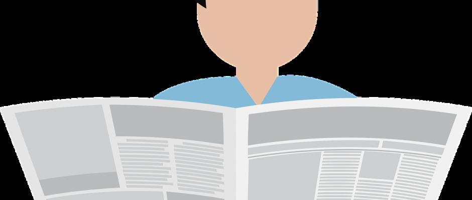 Il disegno di una persona che legge un quotidiano